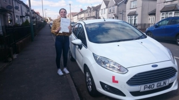 1942016 - Congratulations to Ashton Gillett on passing her test today first time in Merthyr Tydfil good luck looking for your first car Looking forward to seeing you out on the road :-