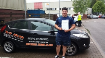 010514 Well done Kieran on passing your driving test first time today at Cardiff with 4 minor faults after only 17 hours of driving lessons Great result